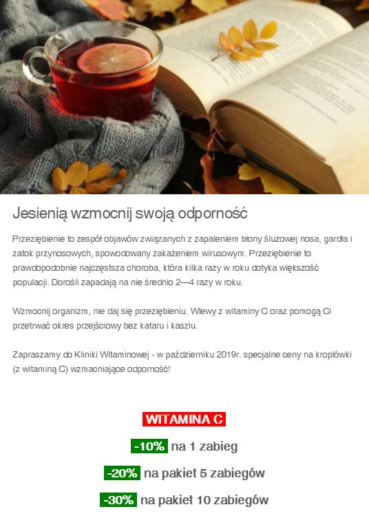 Wzmocnij swoją odporność na JESIEŃ!! -30% na wlew z Witaminą C